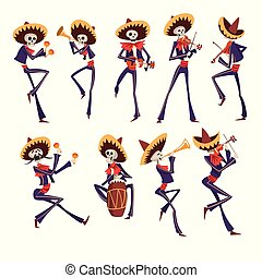 Skeleton in Mexican national costumes dancing, playing violin, trumpet, drum, Dia de Muertos, Day of the Dead vector Illustrations isolated on a white background.