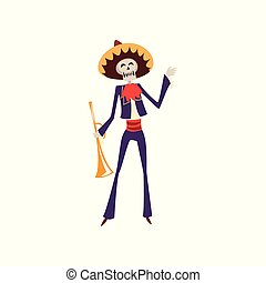 Skeleton in Mexican traditional costume and hat with trumpet, Dia de Muertos, Day of the Dead vector Illustration on a white background