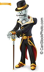 Skeleton in retro costume. Halloween, Day of the Dead holidays. Cartoon character. 3d vector icon