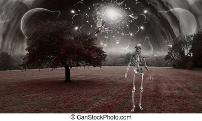 Skeleton in surreal landscape. Angels fly in the sky