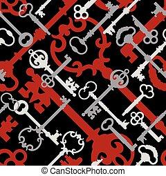 Skeleton Key Pattern in Red-Black