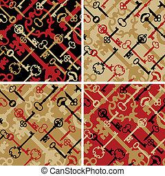 Skeleton Keys Pattern in Black-Red - A seamless vector...