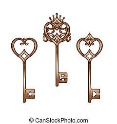 Skeleton keys set vector illustration - Vintage heart shaped...