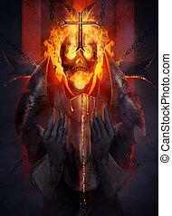Skeleton knight - Skeleton fire head knight praying the...