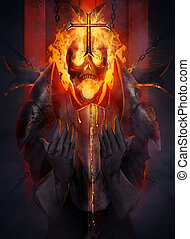 Skeleton knight - Skeleton fire head knight praying the...