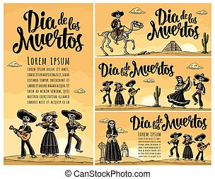 Skeleton Mexican costumes dance and play the guitar, violin,...