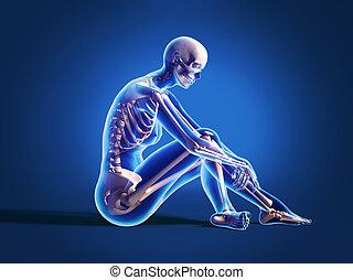skeleton., mujer, piso, hueso, sentado