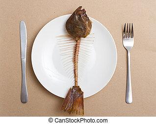 skeleton of a fish on a plate. eaten flounder