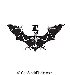Skeleton of a vampire bat in a hat silhouette on a white isolated background. Vector image