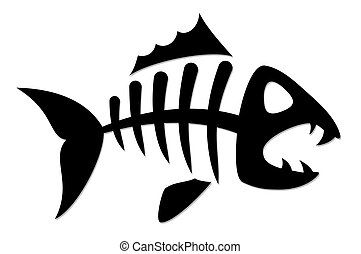 Skeleton of fish. - Skeleton of predatory sea fish.