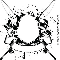 Vector image of crossed fishing tackles board and skeleton of fishes