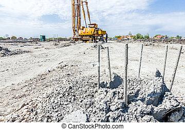 Skeleton of reinforcing steel, armature, bar at construction site