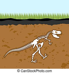 Skeleton of  Tyrannosaurus Rex. Dinosaur bones in Earth. Fossil Ancient fearsome animal. Slice through  soil. archaeological excavations