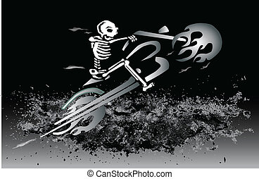 skeleton on flaming motorcycle - eps file available