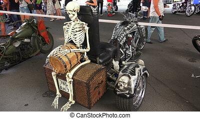 Skeleton on Harley Davidson bike. Shot in 4K (ultra-high...