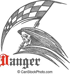 Skeleton or grim reaper with racing flag symbol