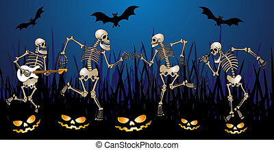 skeleton party - halloween greeting card with skeleton,...