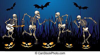 skeleton party - halloween greeting card with skeleton, ...