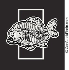 Piranha skeleton tattoo - photo#37