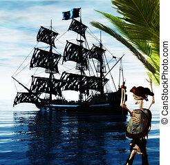 skeleton pirate - 3d render