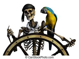 3D render of a skeleton pirate.