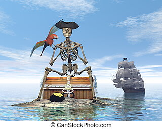 Skeleton pirate treasure - 3D render