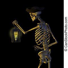 Skeleton Pirate with Lantern - Skeleton Pirate - 3D render