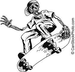 Skeleton playing skateboard - Isolated illustration of...