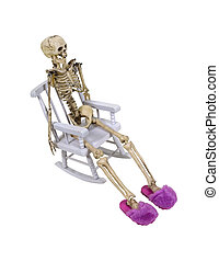 Skeleton relaxing with slippers