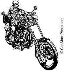 Skeleton Rider On Chopper - Black and White Illustration,...