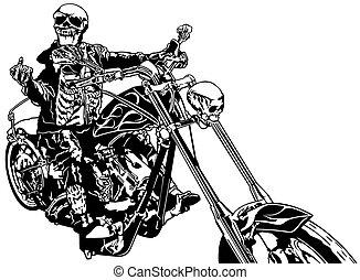 Skeleton Rider On Chopper - Black and White Hand Drawn...