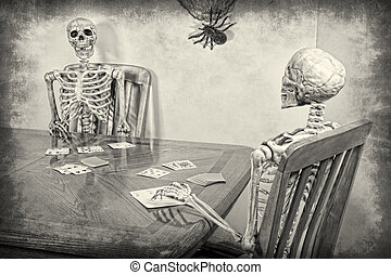Skeleton Rummy - Two skeletons playing a game of rummy. ...