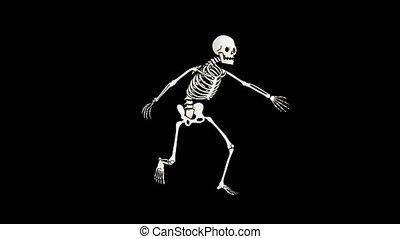 Skeleton scary haunted run. Halloween spooky ghost animation...