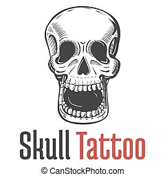 skeleton skull with wide opened mouth tattoo and teeth....