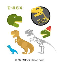 skeleton., tête, claus, designs., ensemble, jurassique, prédateur, period., raptor., items., ancien, tyrannosaurus, hat., emblem., dinosaure, monstre, santa, préhistorique, collection, os, t-rex