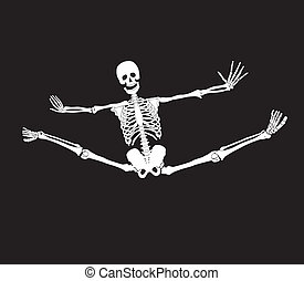 Vector skeleton making splits. Haloween background