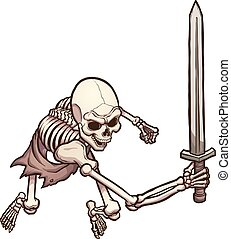 Skeleton warrior in attacking pose, top view. Vector clip...