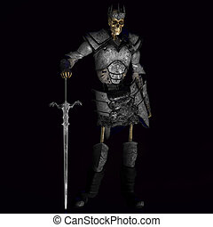 Skeleton with Armor and Shield and Sword With Clipping Path / Cutting Path