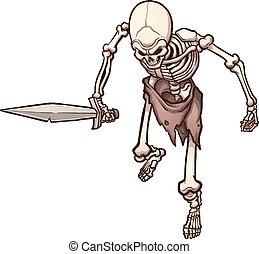 Skeleton warrior - Top view of a skeleton warrior holding a ...