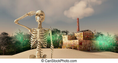 skeleton waving and final apocalypse caused by pollution from industry