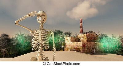 final apocalypse - skeleton waving and final apocalypse...
