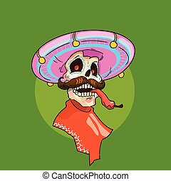 Skeleton Wear Mexican Sombrero Mexico Traditional National...