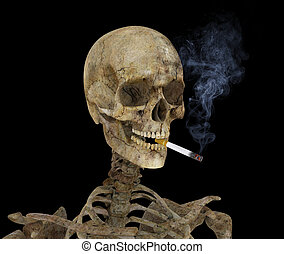 Skeleton with Cigarette - Skeleton with burning cigarette