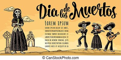 SkeletonMexican costumes holding candle and play the guitar, violin, trumpet.