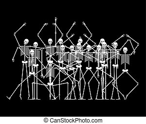 Skeletons in Hell. Sinners skeleton crowd. vector illustration