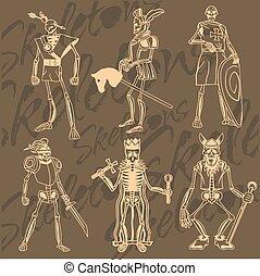 Skeletons - knight. Vinyl-ready illustration. - Skeletons -...