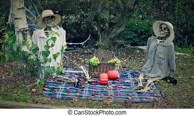 Skeletons Picnic - Halloween Skeleton Couple Outdoor Picnic....