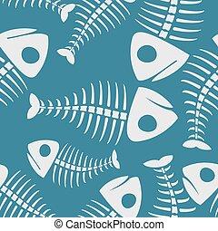 skelett, fische, pattern., seamless, hintergrund,...