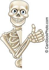 skelett, halloween, auf, daumen, karikatur