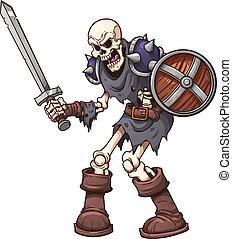 skelett, krieger